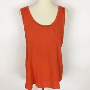 🌷PLEIONE Orange Hi-Lo Scoop Neck Tank Top